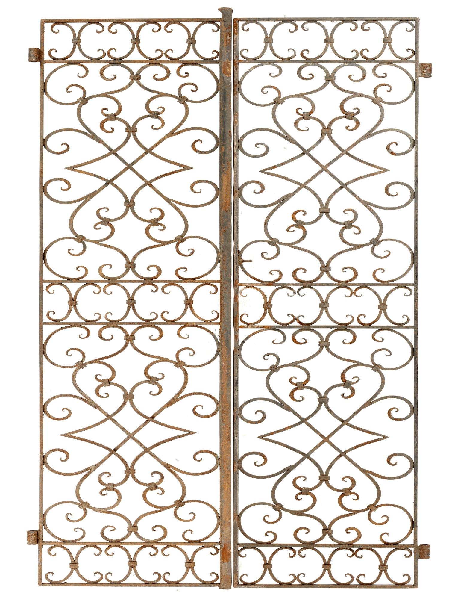 Lot 204 - Gates: A pair of wrought iron Georgian-style pedestrian gates, 19th century, 213cm high by 102cm