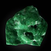 Minerals/Interior Design: An exceptionally large polished malachiteZaire49cm by 46cm