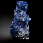 Minerals/Interior Design: A carved Lapis lazuli bear holding a salmonin fitted box17cm high