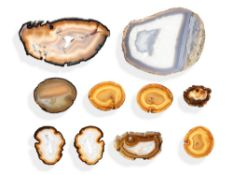 Minerals/Interior Design: Ten agate slices