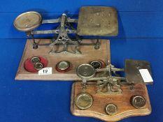 Pair of Vintage Postal Scales & Weights