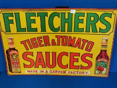 Fletcher's Tiger & Tomato Sauce Vintage Tin Advertising Sign