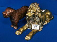 Copper & Brass Lion & Dog Figures