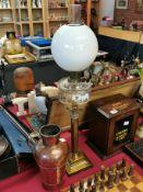 Brass Column Duplex Oil Lamp + Antique Copper Jug