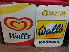 Pair of Vintage Wall's Ice Cream Display Signs - 70cm high by 50cm across