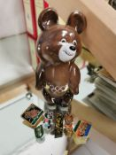 Olympic 1980 Bear figure 13cm and badges