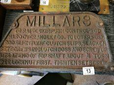 Cast Iron Millars Engineering Safety Sign