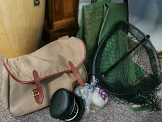 Fishing items including net, reels, bag and boots