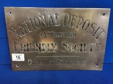 Brass National Deposit Friendly Society Plaque