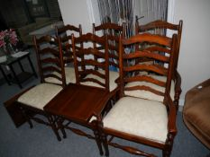 6 Repro oak ladder back dining chairs and table