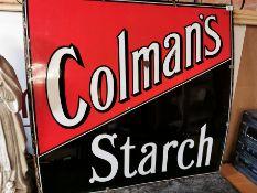 Large Colmans Starch Enamel Advertising Sign