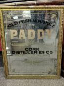 Paddy Old Irish Whiskey Pub Mirror - 78cm high by 60cm across