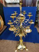 Gold-Plated Brass Candelabra