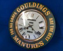 Gouldings of Cork & Dublin Irish Agricultural Advertising Clock - diameter 38cm by 13cm deep