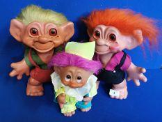 Set of Three 1960's Retro Troll Dolls