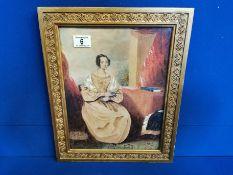 Framed Scene of a Seated Regency Lady