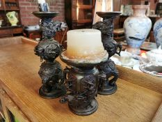 Trio of Japanese Bronze Candlesticks w/character marks to base