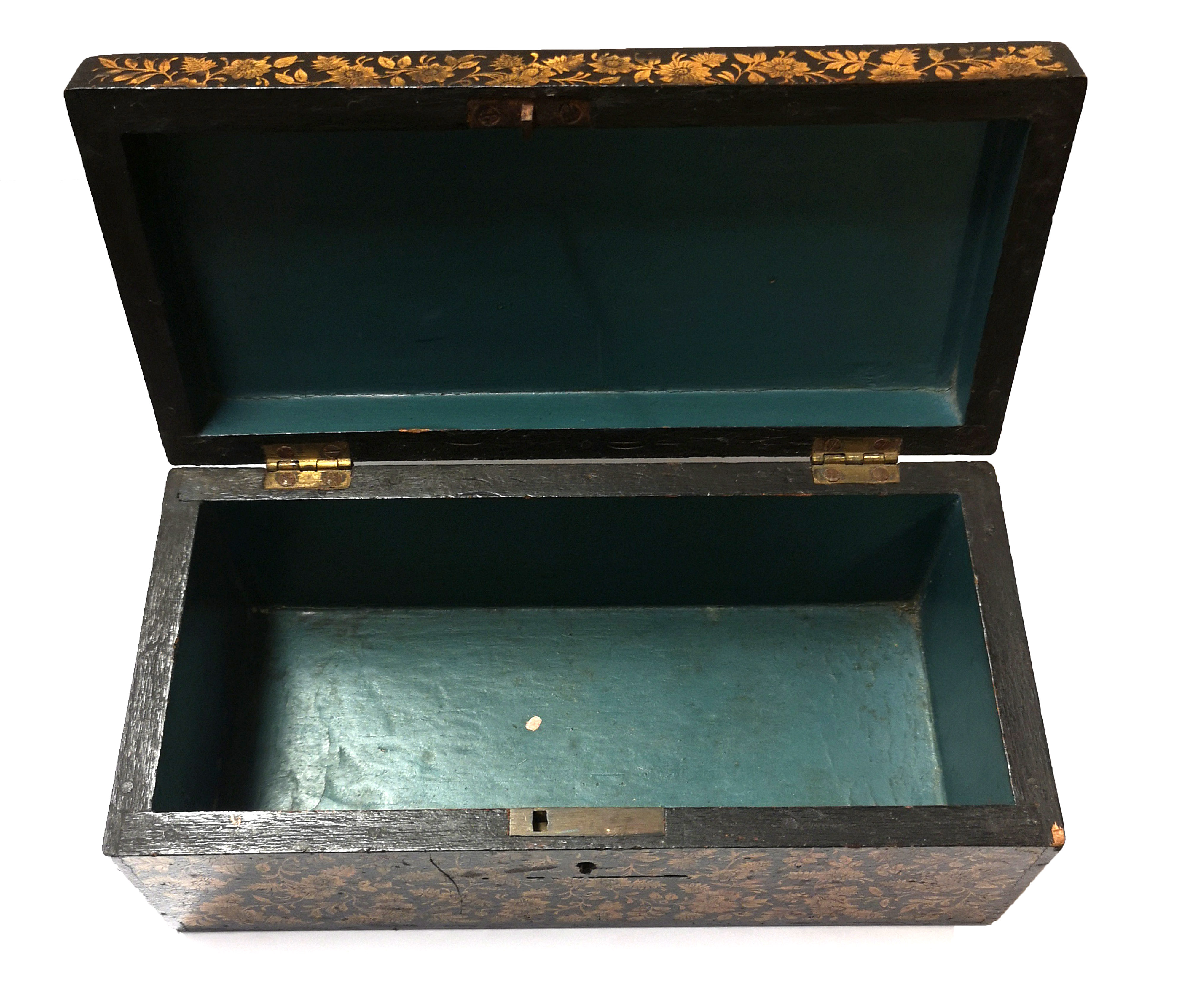 Lot 292 - A 19TH CENTURY PEN WORK BOX Heavily decorated with foliage. (19cm x 12cm x 10cm)