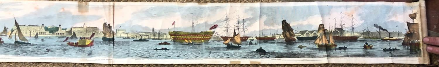 Lot 276 - A 19TH CENTURY COLOURED SCROLL MAP OF THAMES THROUGH LONDON. (558cm)