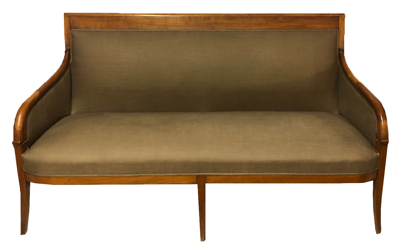 Lot 701 - AN EARLY 20TH CENTURY CONTINENTAL FRUITWOOD FRAMED THREE SEAT SETTEE With scrolling arms, raised