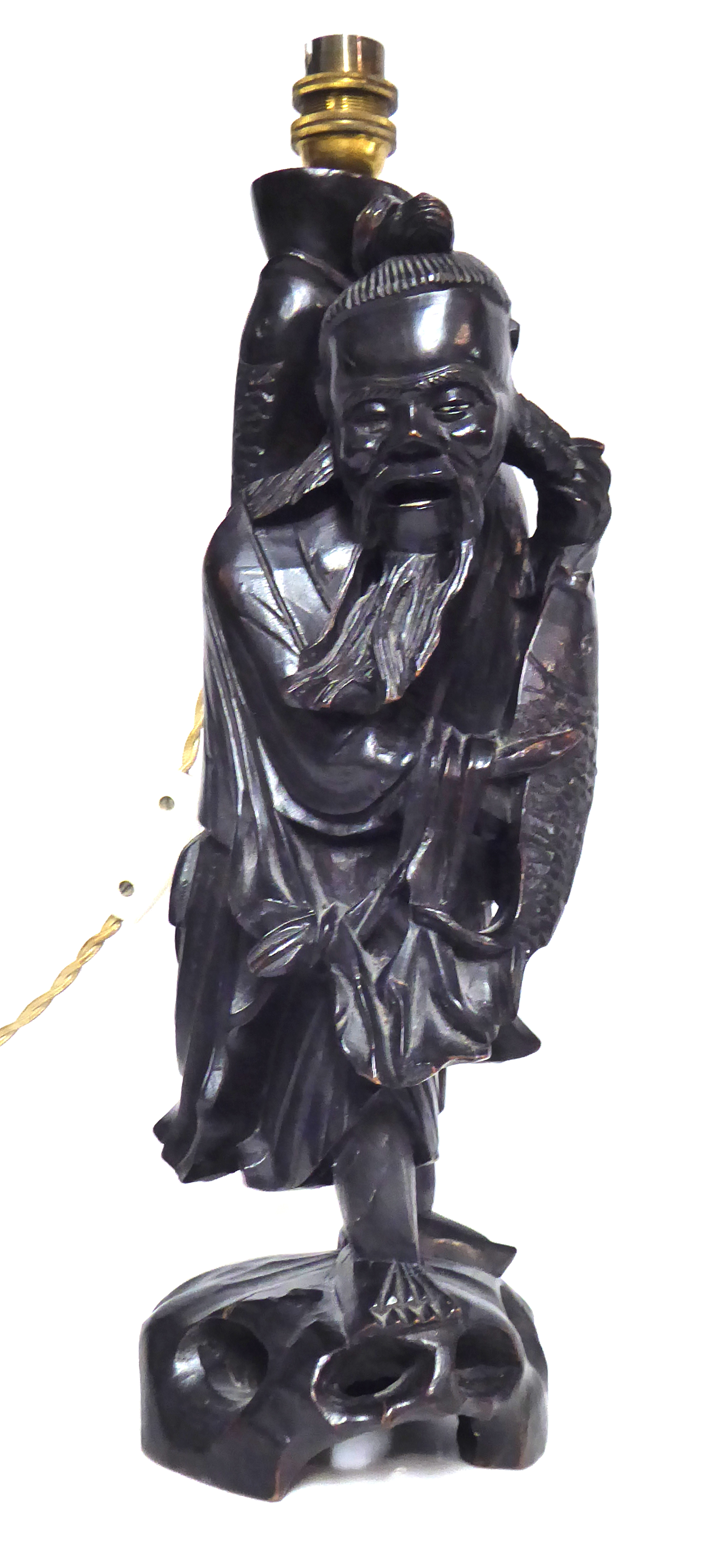 Lot 178 - A CHINESE CARVED WOODEN FIGURAL LAMP An elder fisherman Approx 40cm