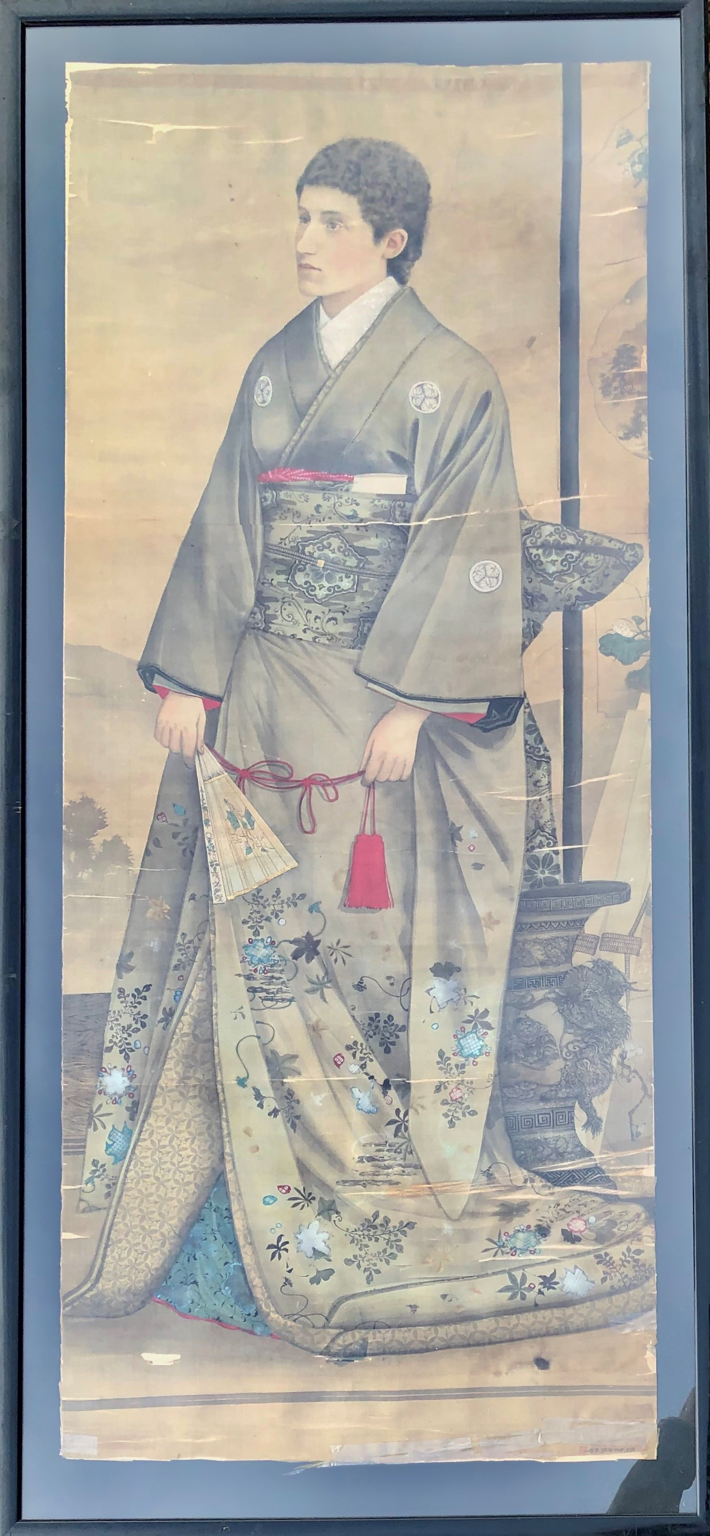 Lot 506 - A LATE 19TH CENTURY JAPANESE PAINTING ON SILK Portrait of a European wearing a kimono Framed and