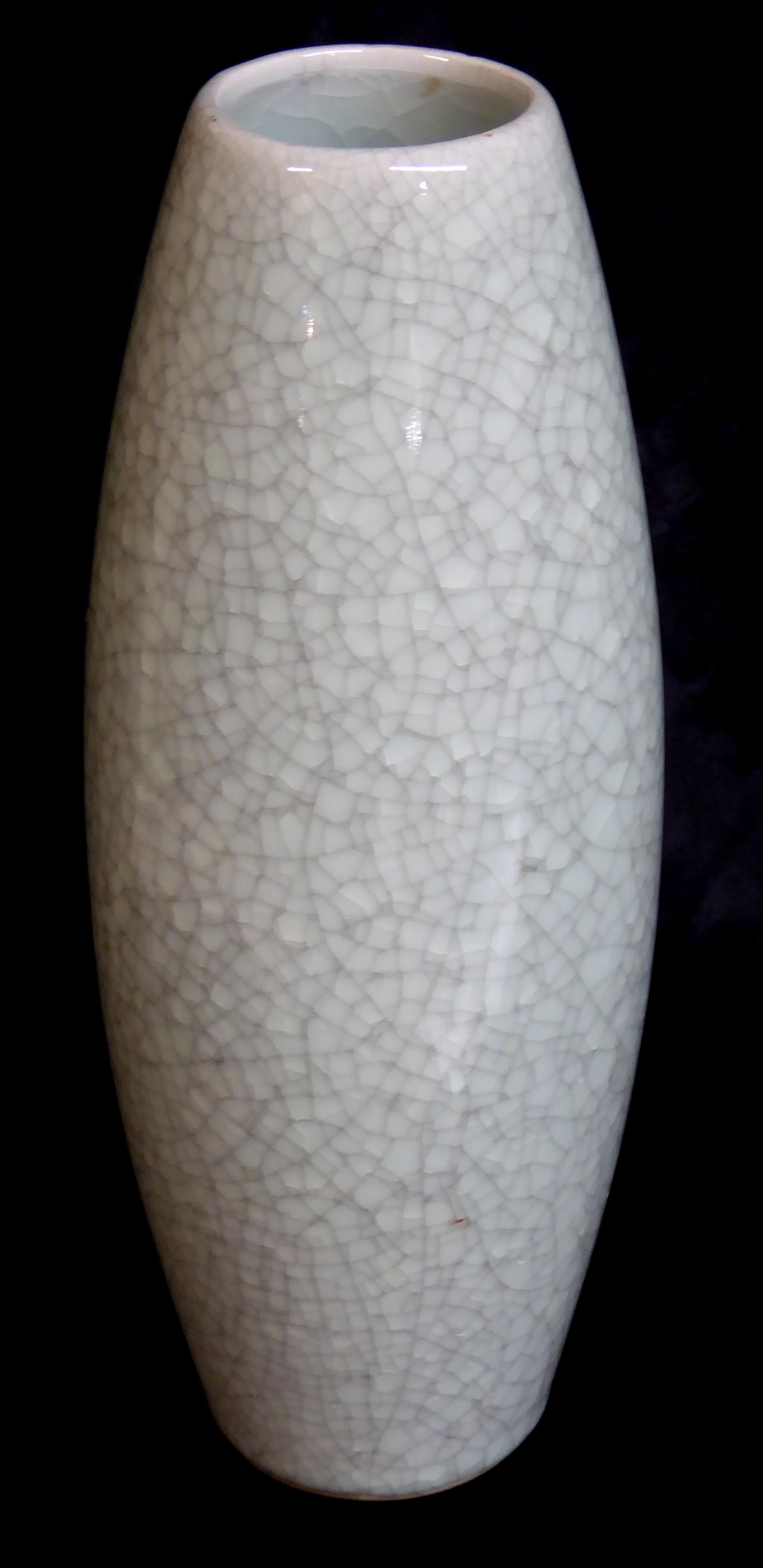 Lot 160 - A CHINESE CELADON CRACKLE GLAZE VASE Ovoid form of plain design Approx 30cm