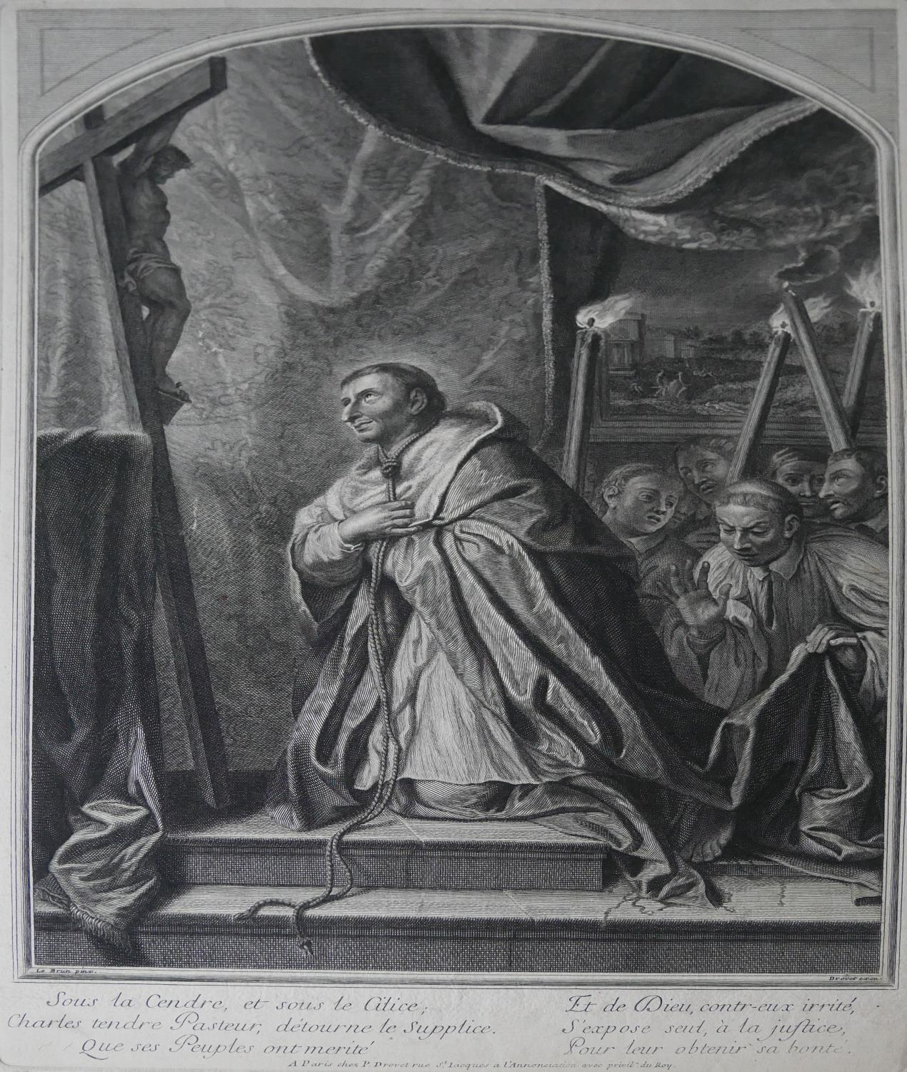 Lot 592 - AFTER CHARLES LE BRUN, 18TH CENTURY ENGRAVING St. Charles Borromeo by Pierre Drevet along with