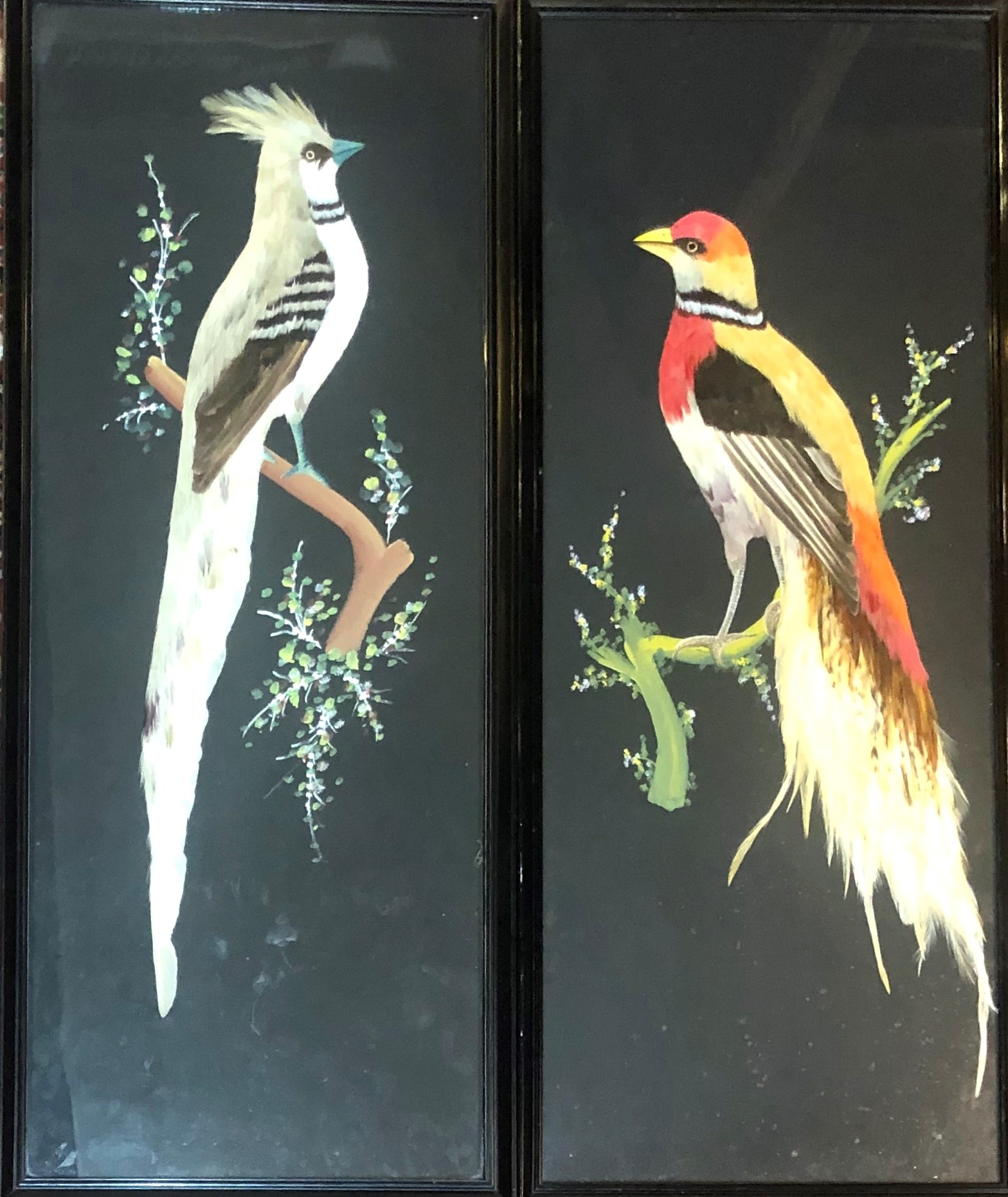 Lot 508 - A PAIR OF EARLY 20TH FEATHER PICTURES Exotic birds perched on branches Framed at glazed 31 x 74cm