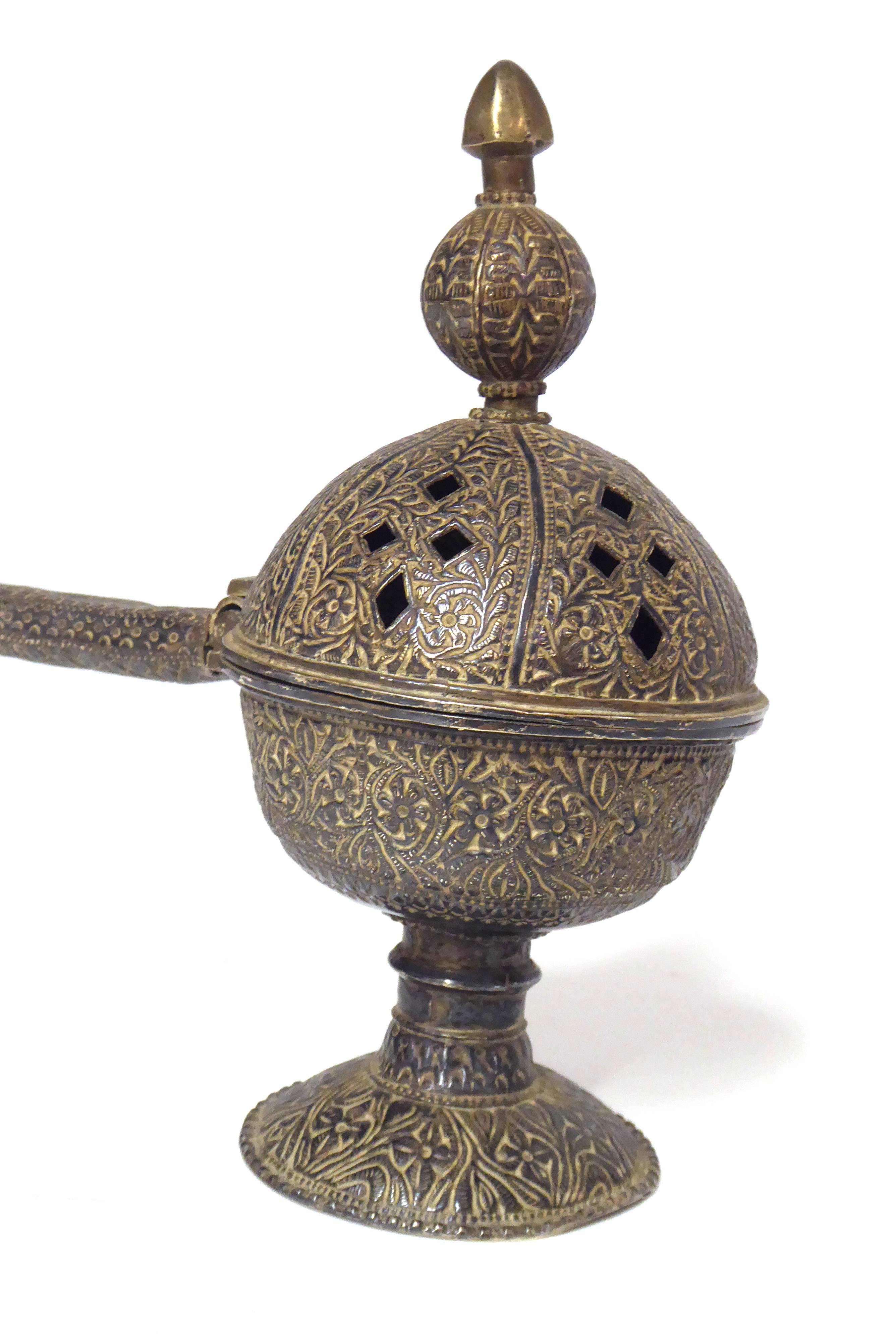 Lot 8 - A 19th CENTURY PERSIAN WHITE METAL INCENSE BURNER Spherical form with carry handle and engraved