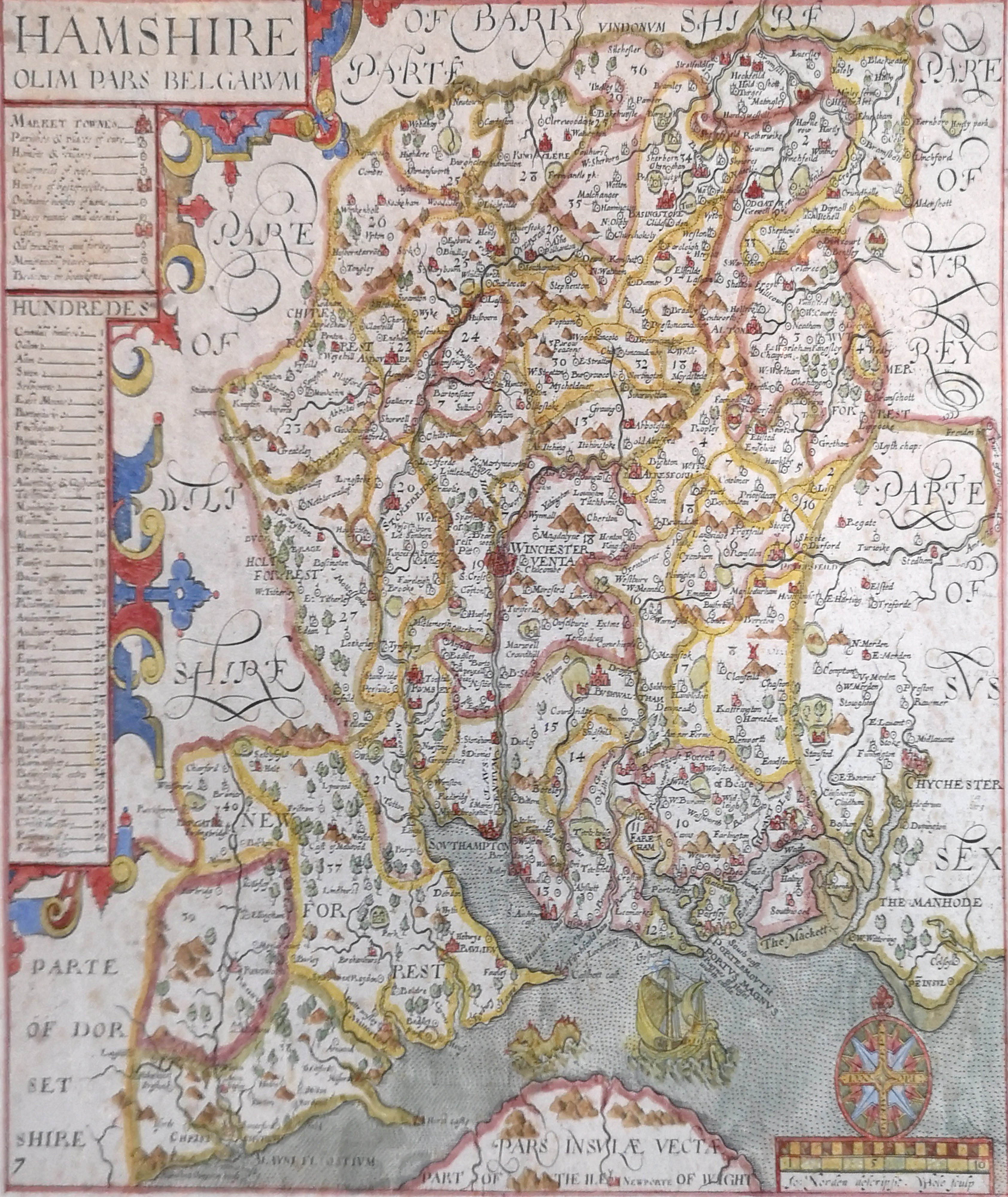 Lot 500 - AN ANTIQUE HAND COLOURED ENGRAVING, MAP OF HAMPSHIRE Printed by John Norden. Bearing a gallery label