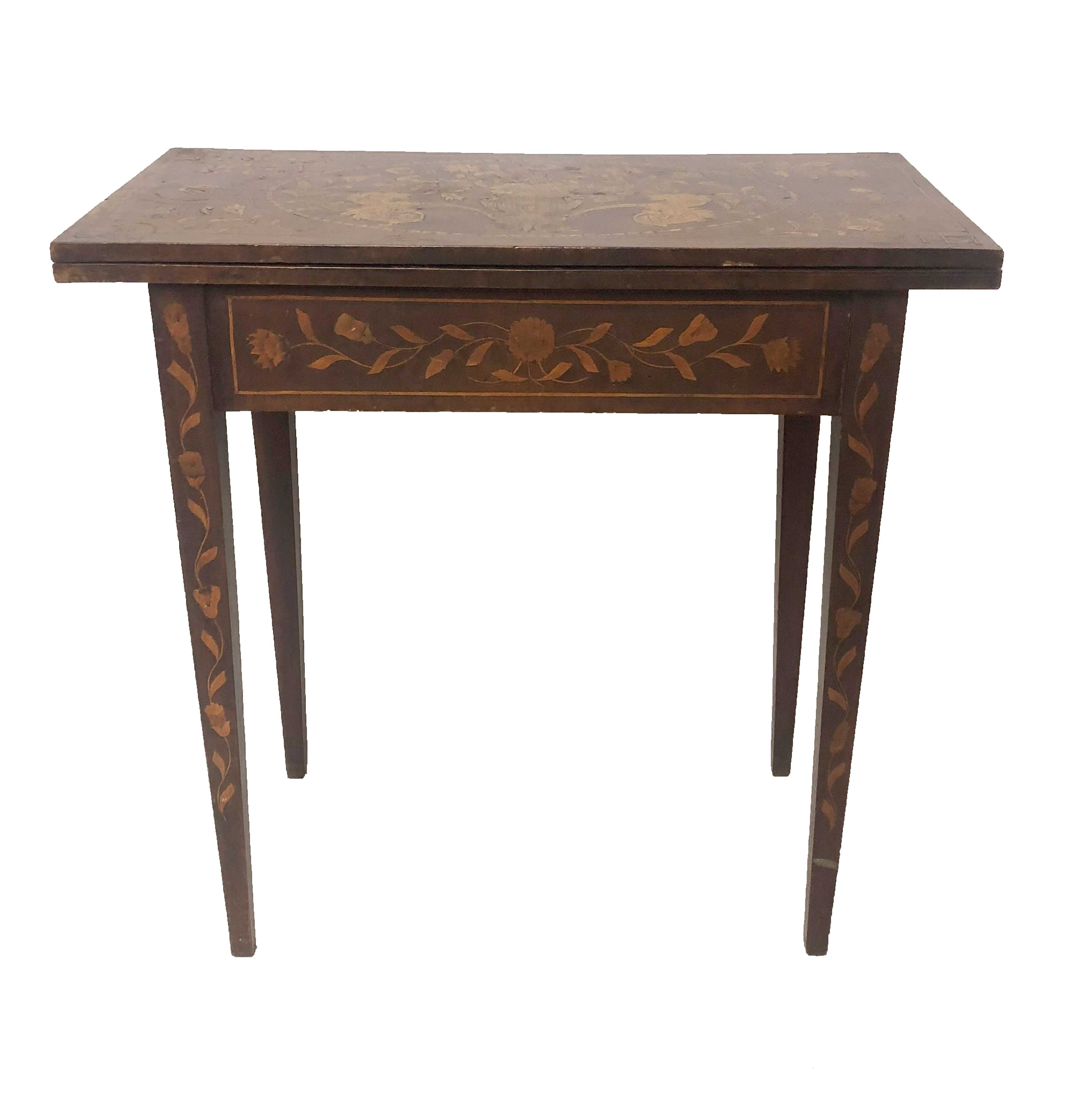 Lot 707 - A 19TH CENTURY DUTCH FLORAL MARQUETRY INLAID FOLD OVER CARD TABLE With green baize surface on square