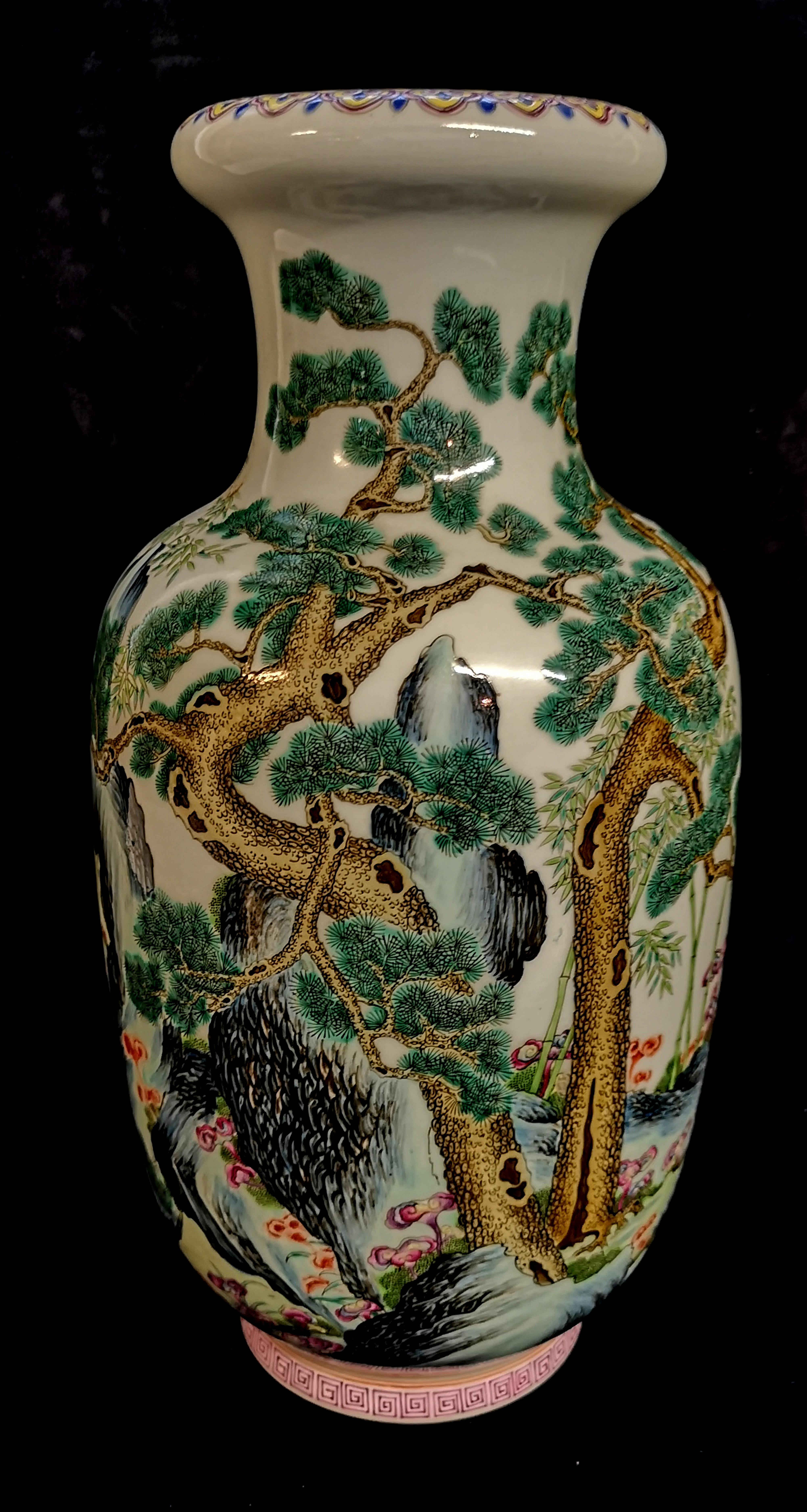 Lot 153 - A CHINESE FAMILLE VERT PORCELAIN VASE Hand painted with an exotic landscape with yellow border to
