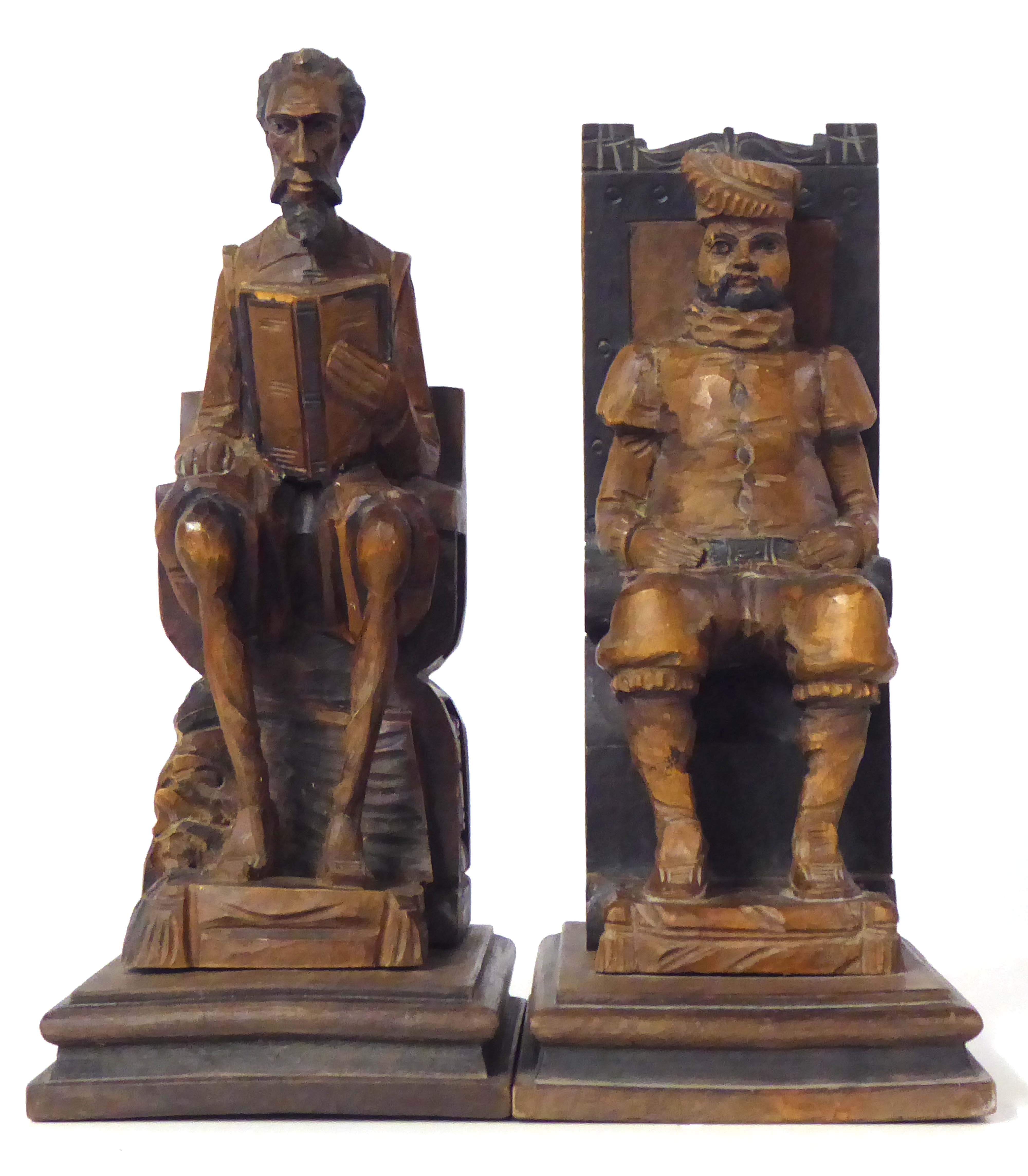 Lot 197 - A VINTAGE PAIR SPANISH WOODEN FIGURAL BOOKENDS Carved as Don Quixote and Sancho Panza Approx 27cm