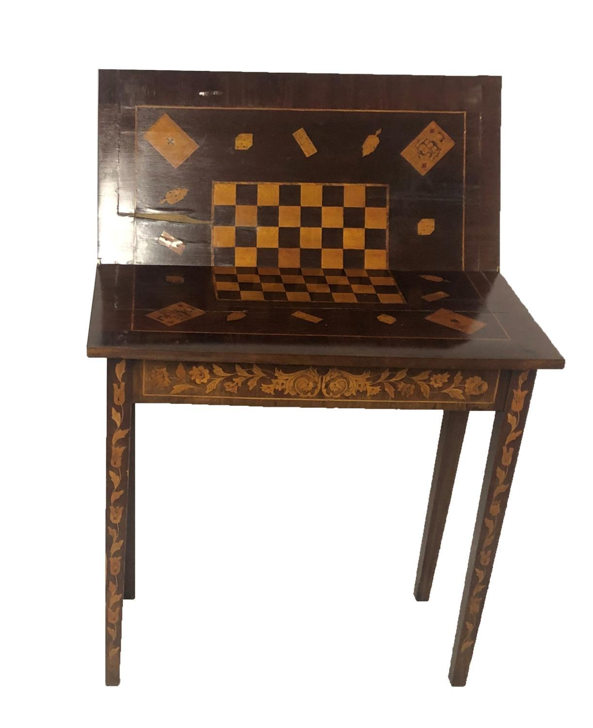 Lot 709 - A 19TH CENTURY DUTCH FLORAL MARQUETRY INLAID FOOD OVER CARD TABLE With checker-board surface, on