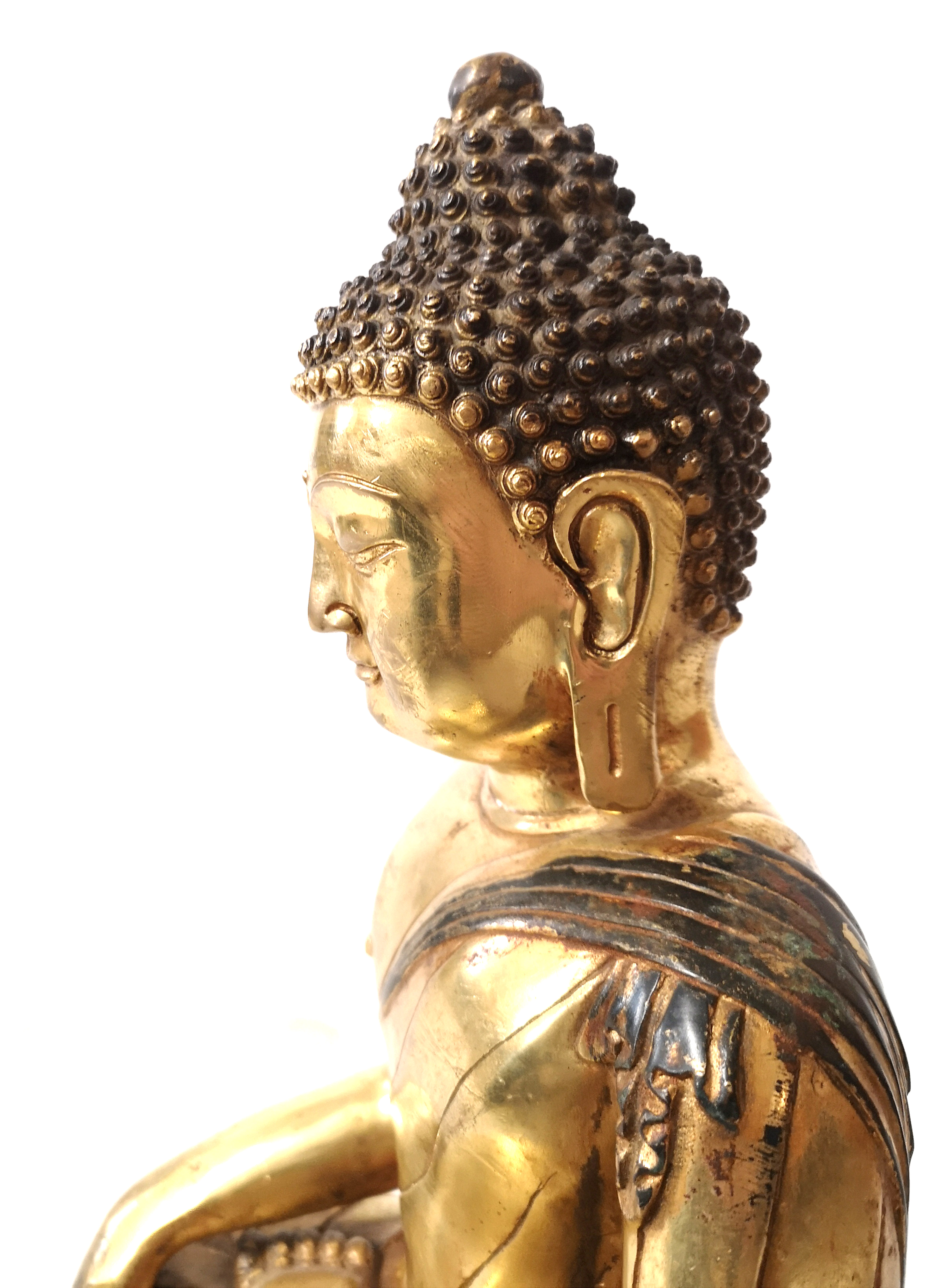 Lot 173 - A LARGE CHINESE GILT BRONZE BUDDHA Seated pose on double lotus base