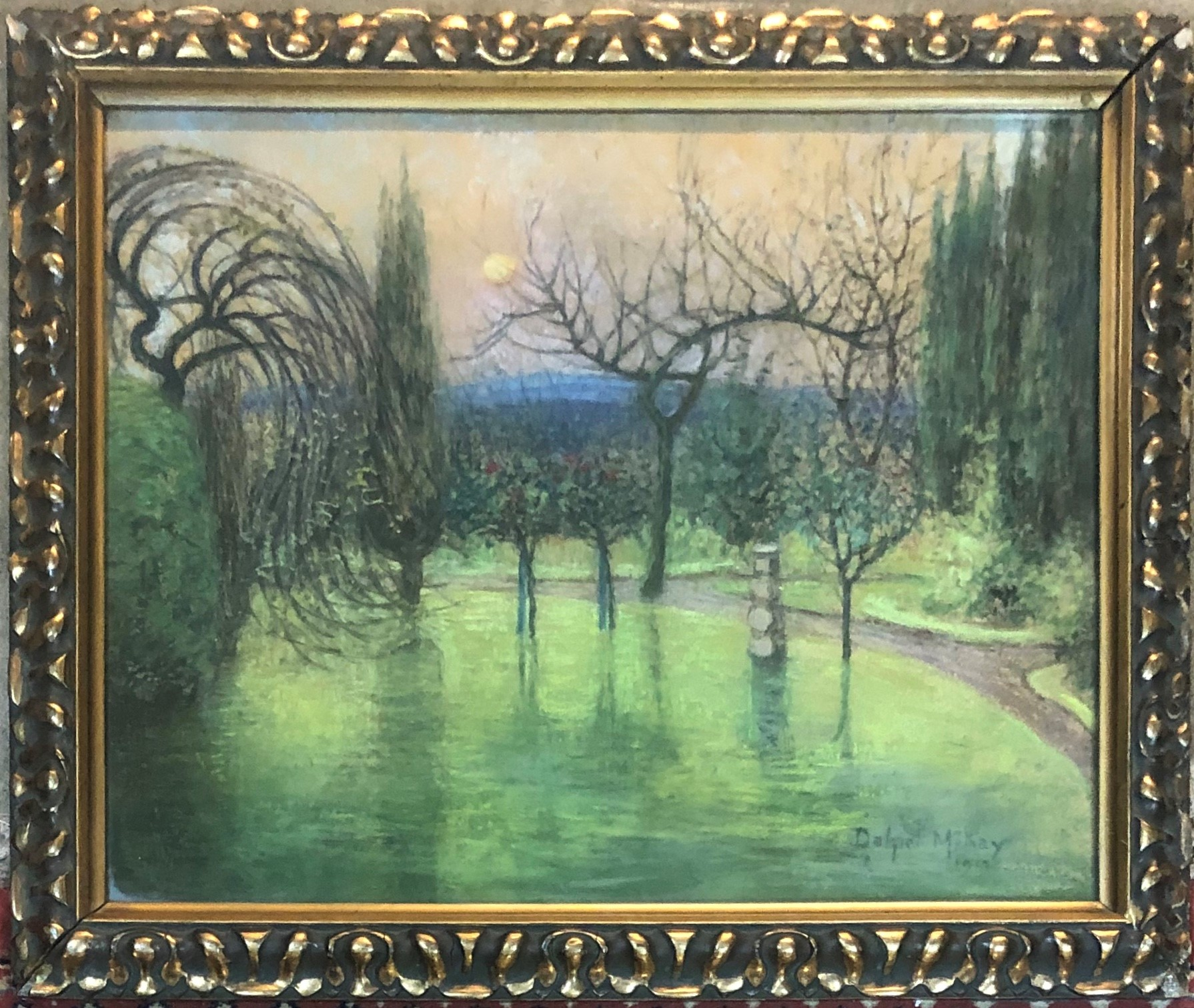 Lot 512 - D MCKAY 1913, PASTEL OF A GARDEN SCENE Gilt framed and glazed 59 x 48 cm