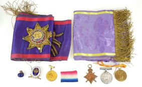 TWO INDEPENDENT ORDER OF ODDFELLOWS, MANCHESTER UNITY MASONS SILK SASHES Along with a group of three
