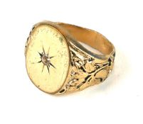 A 14CT GOLD AND DIAMOND SIGNET RING (size Q/R).