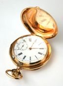 AN EARLY 20TH CENTURY 14CT GOLD MINUTE REPEATER GENT'S FULL HUNTER POCKET WATCH Having engine turned
