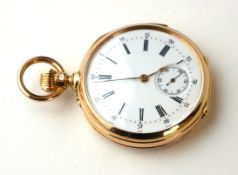 AN EARLY 20TH CENTURY YELLOW METAL QUARTER REPEATER LADIES' POCKET WATCH Open face with Roman number