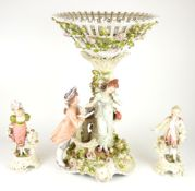 THURINGIAN, SITZENDORF, A LARGE PORCELAIN FIGURATIVE TABLE CENTREPIECE Of highly organic form,