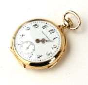 AN EARLY 20TH CENTURY 14CT GOLD MINUTE REPEATER LADIES' POCKET WATCH Open face with Arabic number