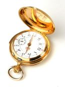 AN 18CT GOLD MINUTE REPEATER LADIES FULL HUNTER POCKET WATCH Having embossed initials to outer case,