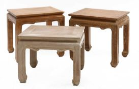 A pair of modern hardwood low tables,