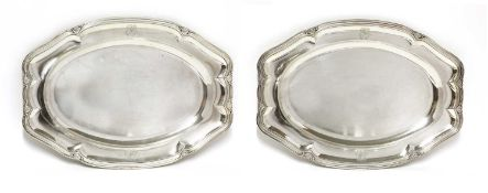 A pair of French sterling silver serving dishes,