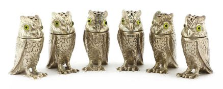 A set of six modern cast silver owl pepperettes,