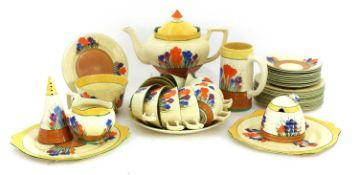 A Collection of Clarice Cliff 'Crocus Pattern' china,