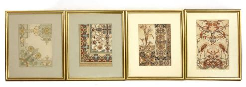 A group of seven Art Nouveau architectural designs,