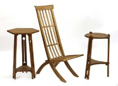 Two Arts and Crafts oak side tables,